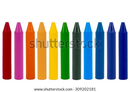 Wax crayons rainbow isolated pencils - stock photo