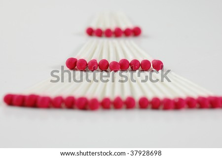 Wax matches on a white background