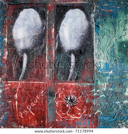 Wax painting with poppy heads - stock photo