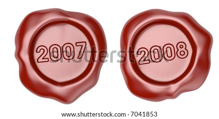 Wax seal with 2007 and 2008 text - stock photo