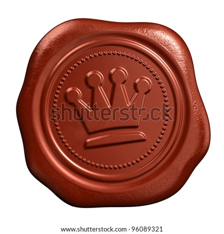Wax seal with crown stamp - stock photo