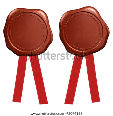Wax seal with red ribbons - stock photo
