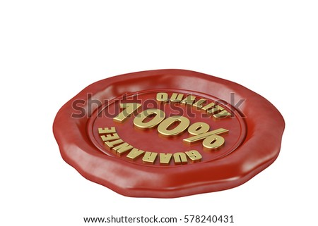 Wax seal with the inscription quality guarantee.3D illustration.
