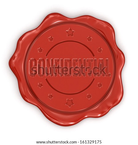 Wax Stamp Confidential (clipping path included) - stock photo