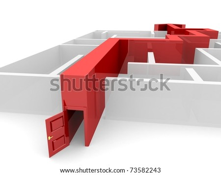 way as an arrow with a door laid on the labyrinth - stock photo