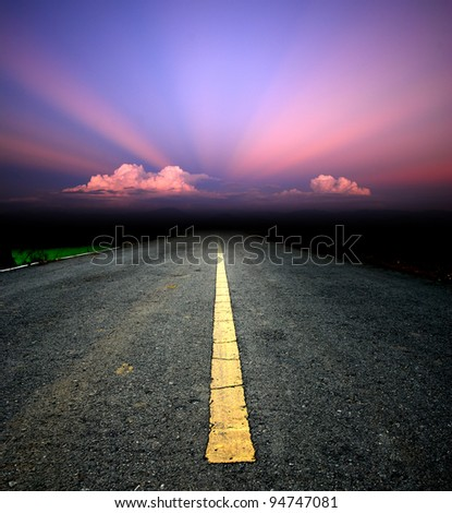 Way background road destination sunset cloud sky beam - stock photo