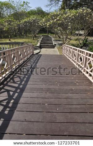 Way Bridge Wood Garden Park Long - stock photo
