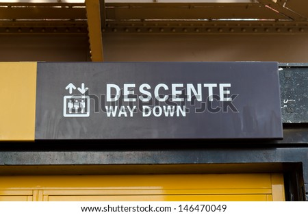 Way down sign elevator