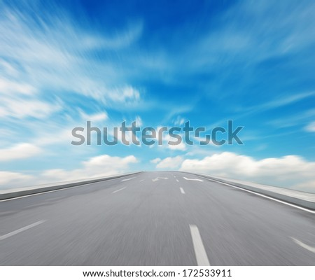Way high way blue sky to Travel Destination journey