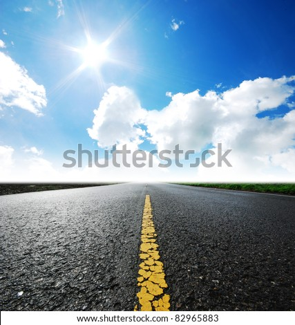 Way high way blue sky to Travel Destination journey - stock photo