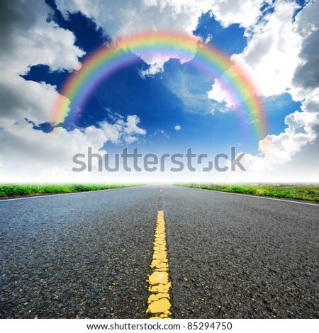 Way high way blue sky to Travel Destination journey rainbow - stock photo