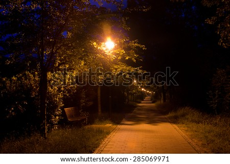 Way in Jena illuminated the late blue hour with lanterns
