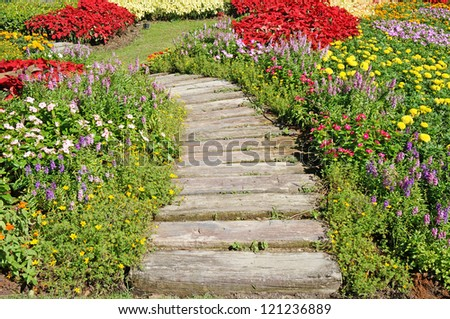 way in the garden - stock photo