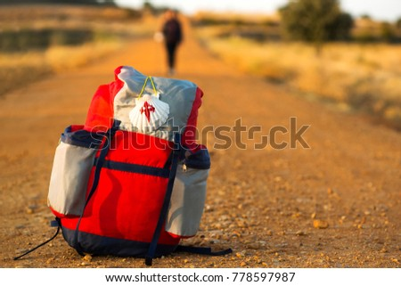 way of St James ,pilgrim backpack , to Compostela near Astorga  , Leon , Spain