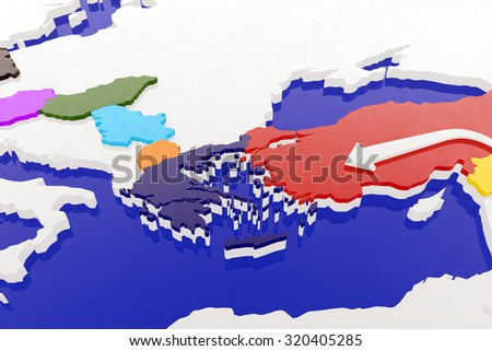 Way of the Syrian Migrants Refugees to Europe in 2015 - 3D Illustration