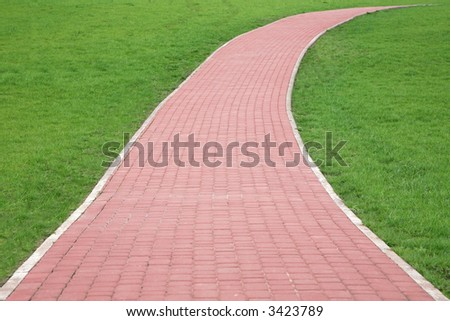 way on grass - stock photo