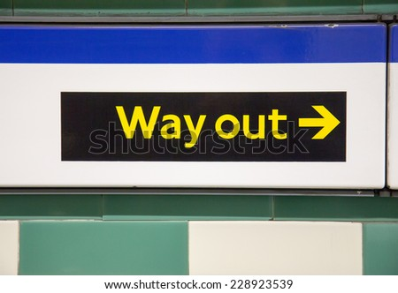 Way out sign in London underground - stock photo