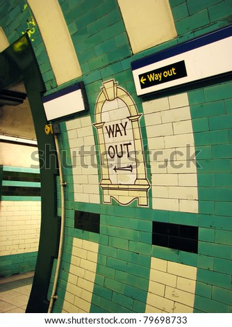 Way Out signs in London Tube - stock photo