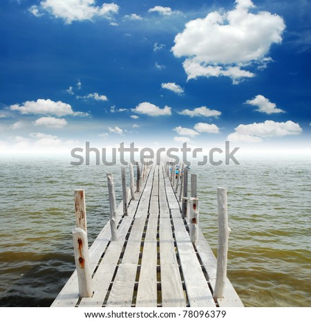 Way sea sand sun island beach for backgrounds and design - stock photo