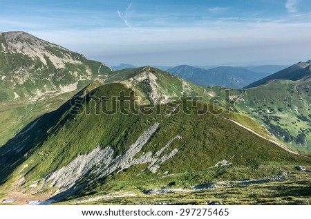 Way through summer mountains under blue sky with clouds - West Tatras, Slovakia, Europe - stock photo