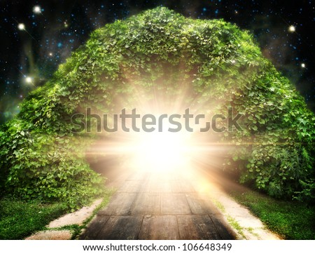 Way to another world, abstract natural backgrounds - stock photo