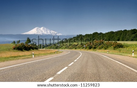 Way to Elbrus - stock photo