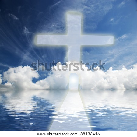 Way to heaven. Conceptual, religion, new life - stock photo