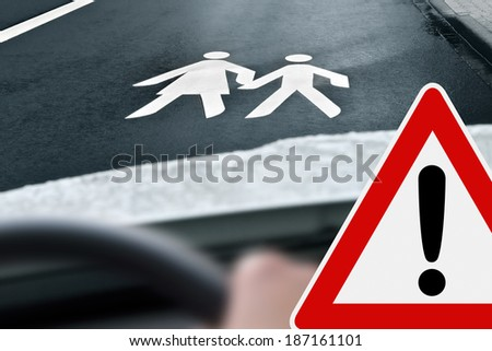 way to school - caution - stock photo