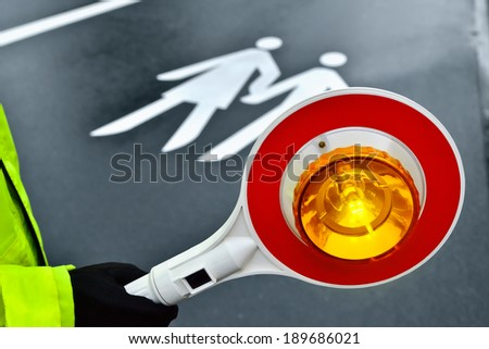 way to school - crossing guard - stock photo