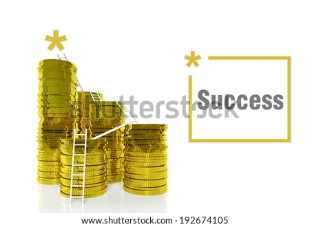 Way to Success concept, ladders on gold coins - stock photo