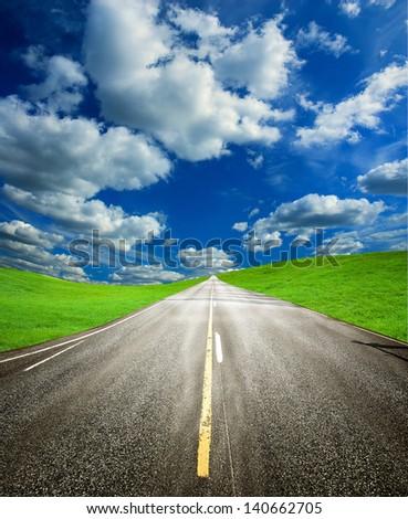 way to success under nice sky - stock photo