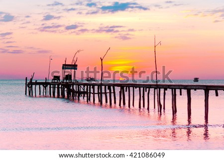 Way to Sunset Jetty to Eternity  - stock photo