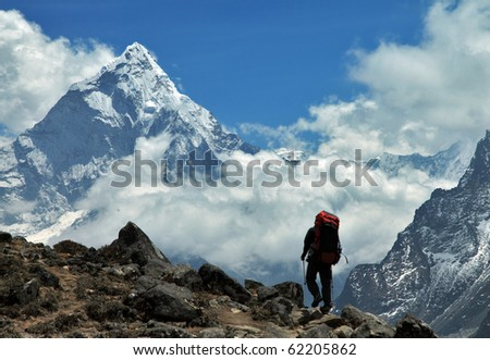 Way to the Ama-Dablam - stock photo