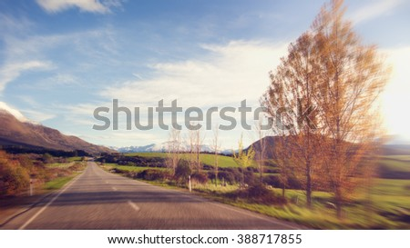 Way Tranquil Scence Roadway Destination Concept - stock photo
