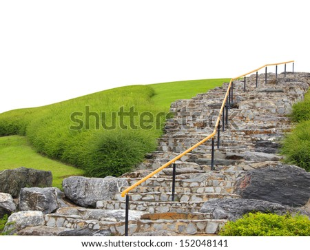 way up - stone steps in  garden - stock photo
