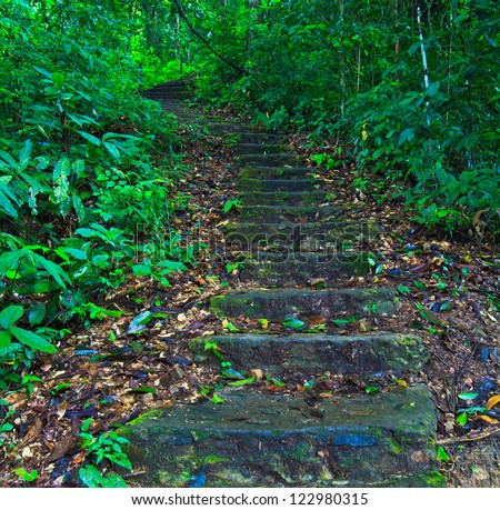 Way up the hill Stairway - stock photo