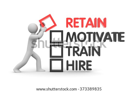Ways to motivate and retain employees - stock photo