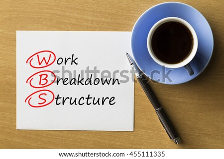 WBS Work Breakdown Structure - handwriting on paper with cup of coffee and pen, acronym business concept