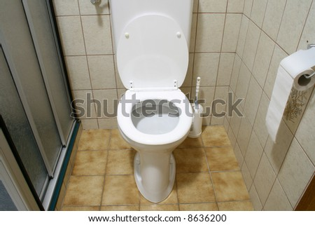 wc in bathroom - stock photo