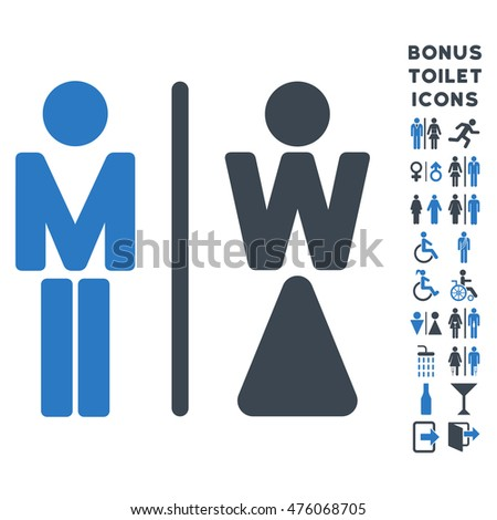 WC Persons icon and bonus male and lady restroom symbols. Glyph illustration style is flat iconic bicolor symbols, smooth blue colors, white background.