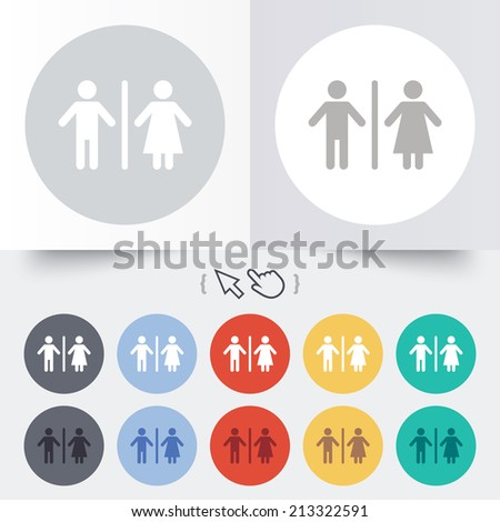 WC sign icon. Toilet symbol. Male and Female toilet. Round 12 circle buttons. Shadow. Hand cursor pointer. - stock photo
