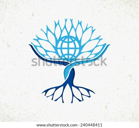 We all are one concept tree. Community management with Earth globe, roots and branches icon illustration. - stock photo