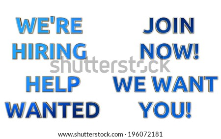 we hiring help wanted signs blue stock illustration 196072181