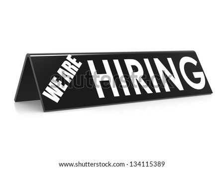 We are hiring in black - stock photo
