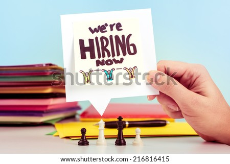We are hiring message on office - stock photo