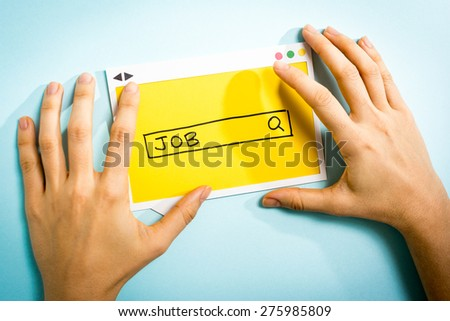 """We are searching for a the word """"JOB"""". Job search concept on blue background. - stock photo"""
