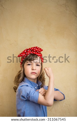 We can do it. Symbol of girl power and feminism concept - stock photo