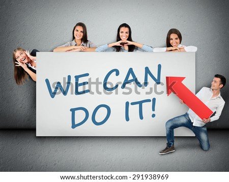 We can do it word writing on white banner - stock photo