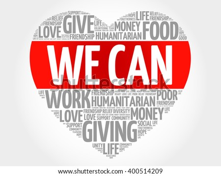 We Can word cloud, heart concept - stock photo