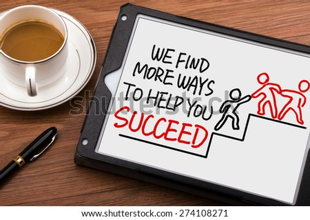 we find more ways to help you succeed hand drawing on chalkboard - stock photo